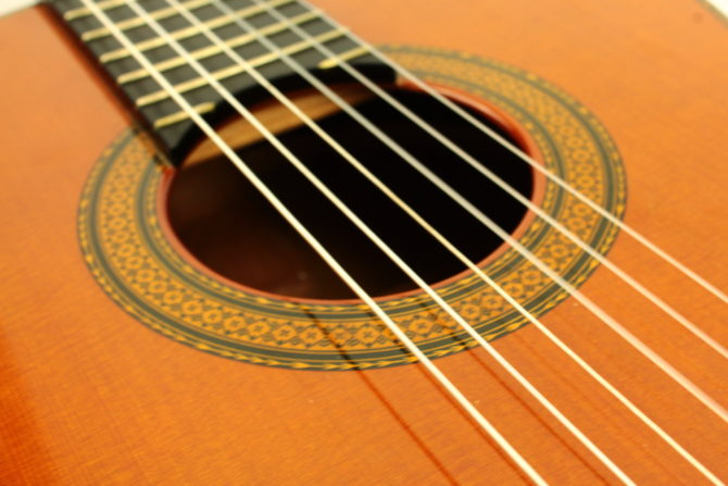 Nylon string guitar example close up