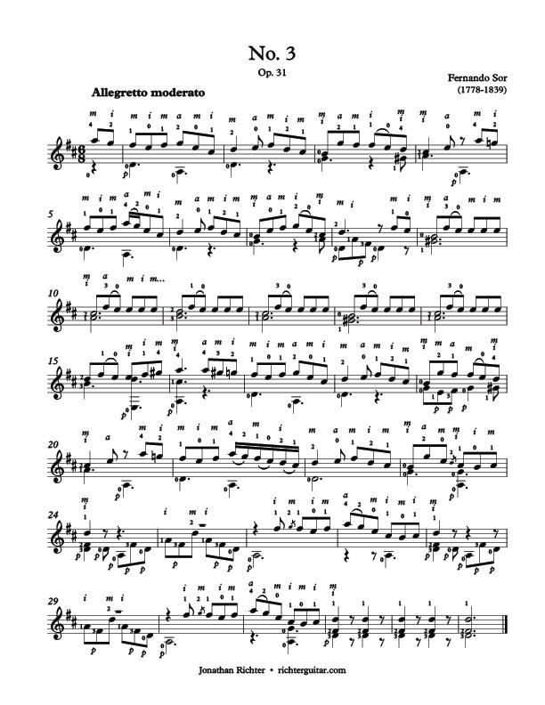 Fernando Sor Op.31 Etude No.3 Allegretto moderato, free sheet music pdf guitar
