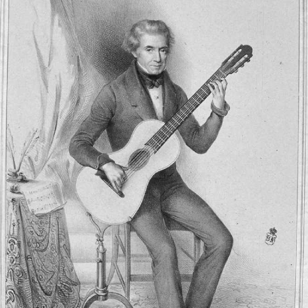 Sketch of Dionisio Aguado, classical guitarist and composer.