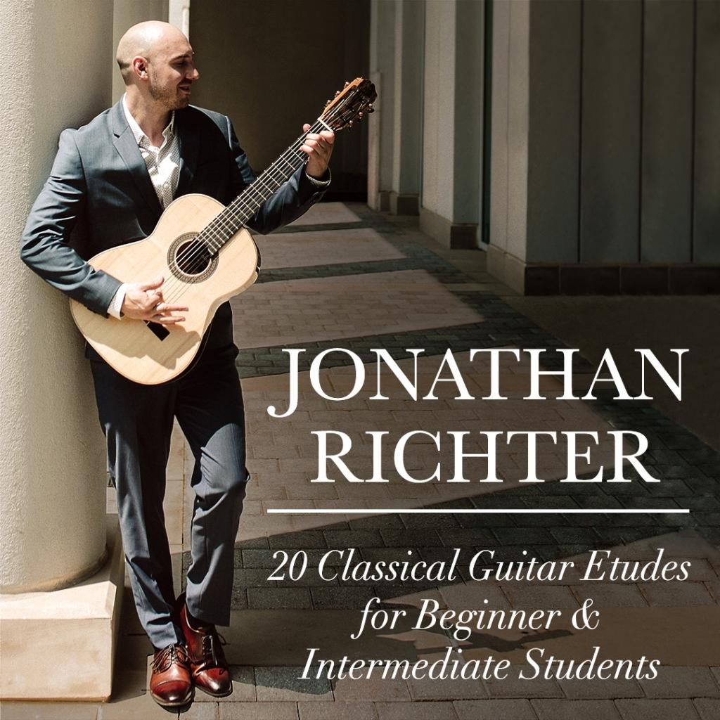 Album cover 20 Classical Guitar Etudes for Beginner & intermediate Students by Jonathan Richter, Atlanta Classical Guitarist