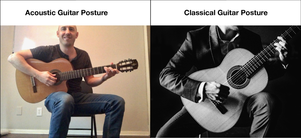 How to hold the guitar, classical guitar posture vs acoustic guitar posture comparison.