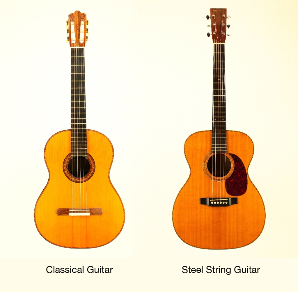Acoustic guitar vs classical guitar: what's the difference? guitar body shape comparison