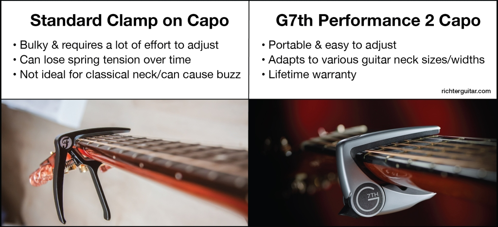 Guitar capo comparison: G7th capo vs clamp on model