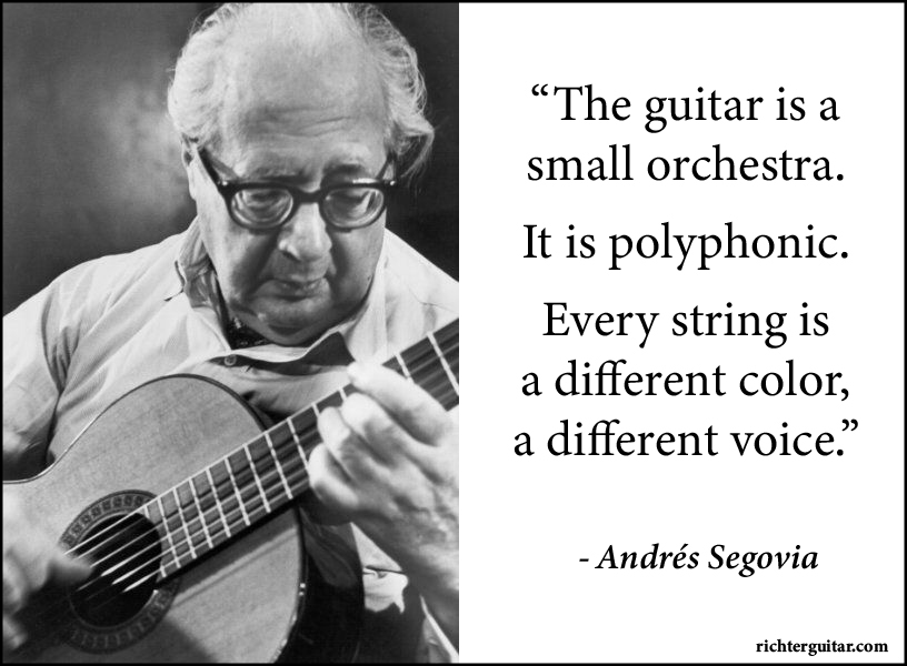 Andrés Segovia classical guitar quote every string different color polyphony