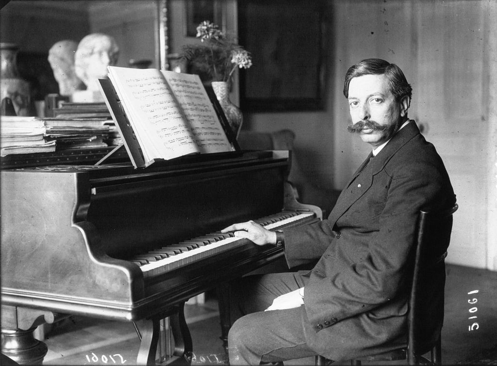 Spanish pianist and composer Enrique Granados at the piano