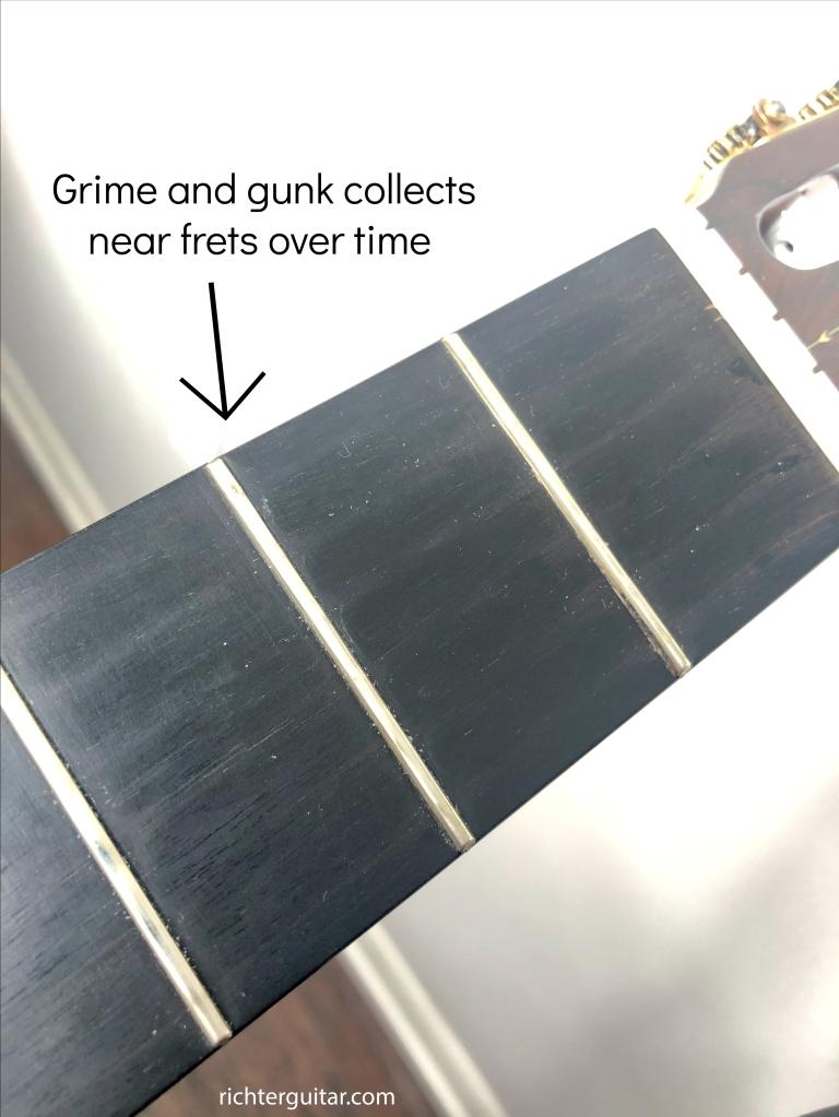 classical guitar fretboard gunk