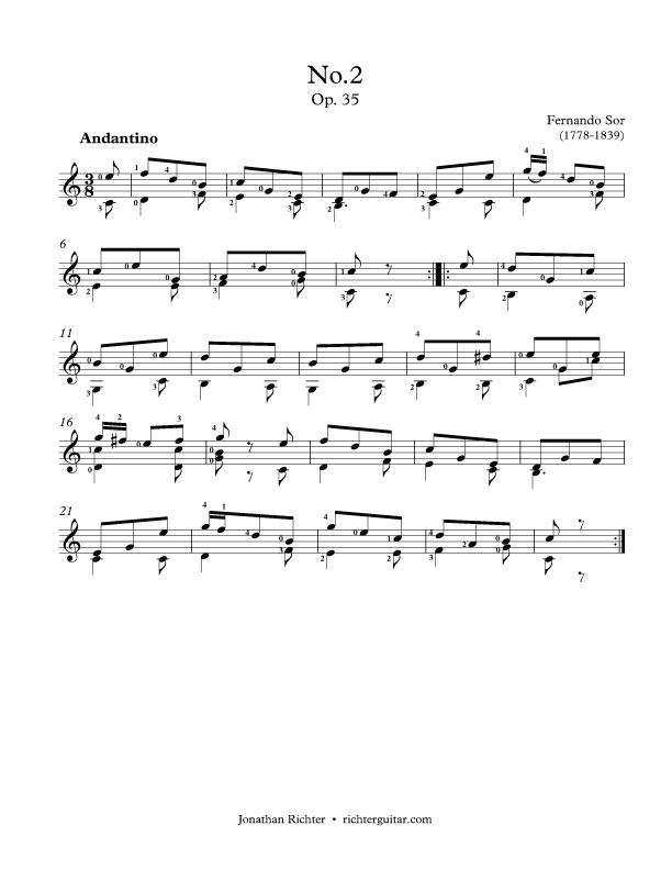 Fernando Sor's Op.35 Etude no.2: Andantino classical guitar sheet music