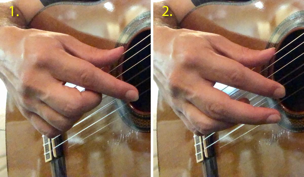 classical guitar rest stroke technique using index finger