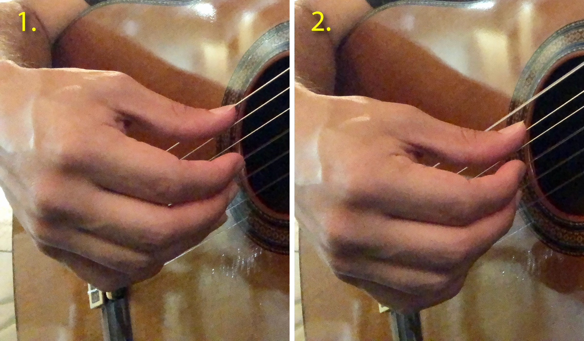 classical guitar thumb rest stroke example